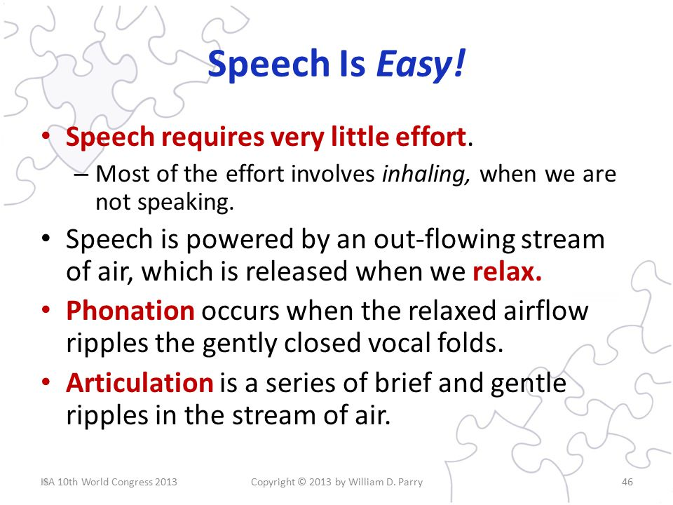 Speech Is Easy. Speech requires very little effort.
