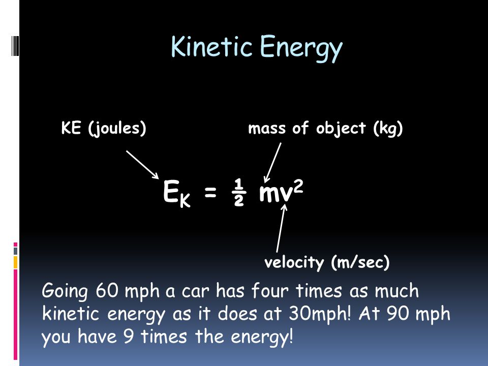 E K = ½ mv 2 Kinetic Energy KE (joules)mass of object (kg) velocity (m/sec) Going 60 mph a car has four times as much kinetic energy as it does at 30mph.