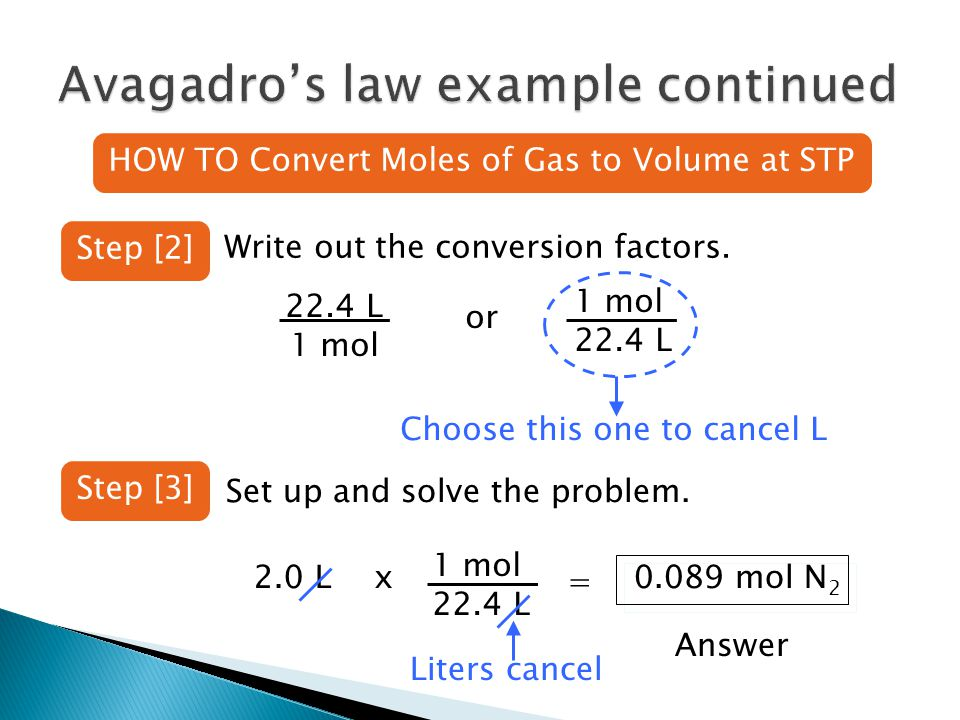 HOW TO Convert Moles of Gas to Volume at STP Step [2] Write out the conversion factors.