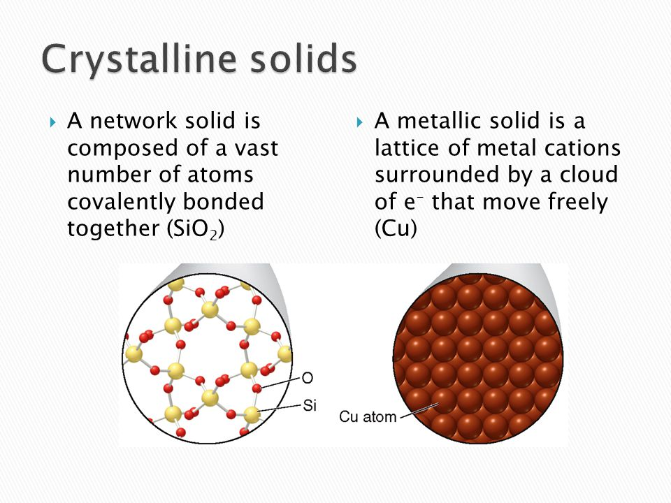  A network solid is composed of a vast number of atoms covalently bonded together (SiO 2 )  A metallic solid is a lattice of metal cations surrounded by a cloud of e - that move freely (Cu)