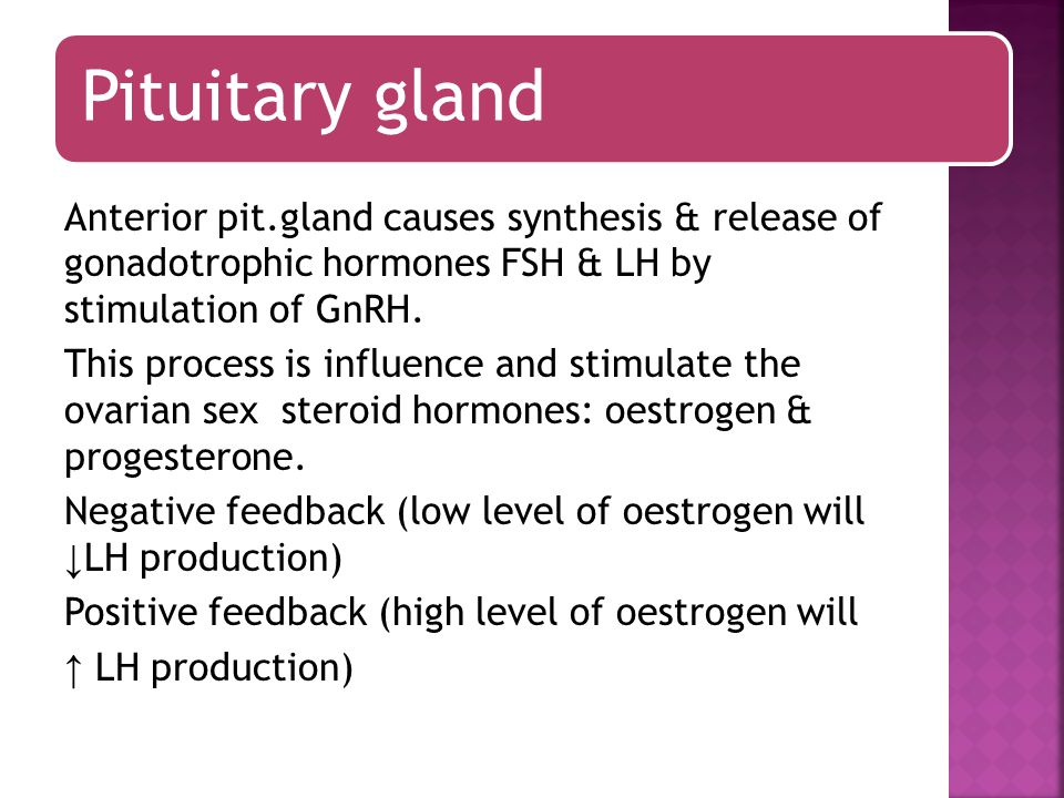 Pituitary gland GnRH agonists when administered continuously they will down regulate the pituitary and ↓ LH & FSH secretion, this has effects on ovarian function and oestrogen and progestron levels also fall and most women become amenorrhoeic, these drugs are used as treatment for endometriosis and to shrink fibroid prior to surgery.