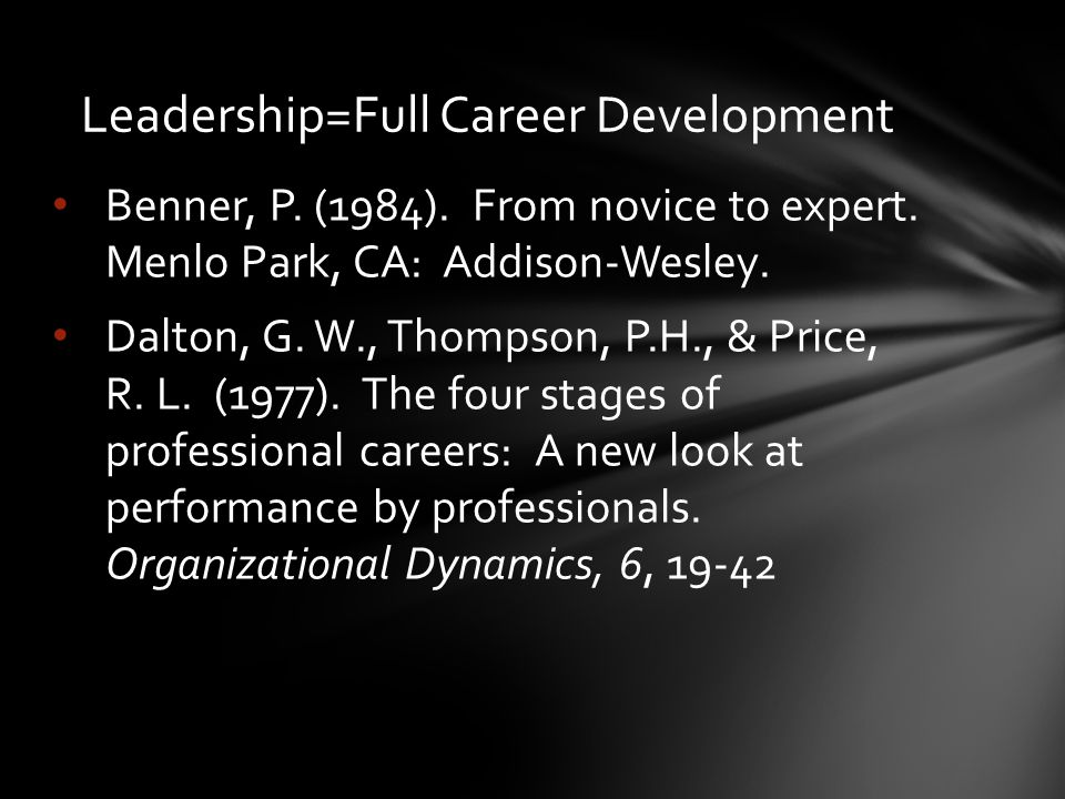 Benner, P. (1984). From novice to expert. Menlo Park, CA: Addison-Wesley.