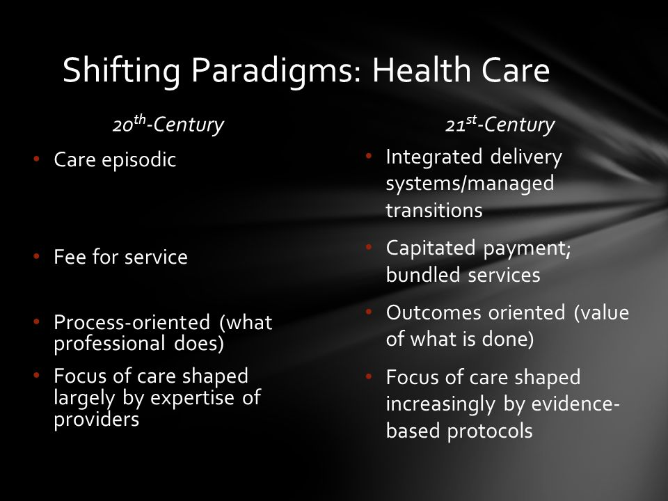 20 th -Century21 st -Century Integrated delivery systems/managed transitions Capitated payment; bundled services Outcomes oriented (value of what is done) Focus of care shaped increasingly by evidence- based protocols Care episodic Fee for service Process-oriented (what professional does) Focus of care shaped largely by expertise of providers Shifting Paradigms: Health Care