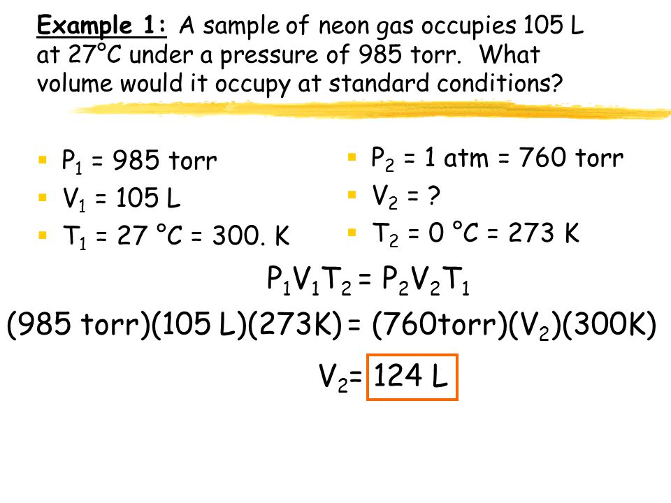 Combined gas law This is for one gas undergoing changing conditions of temp, pressure, and volume. Combining Boyle's law (pressure-volume) with Charle