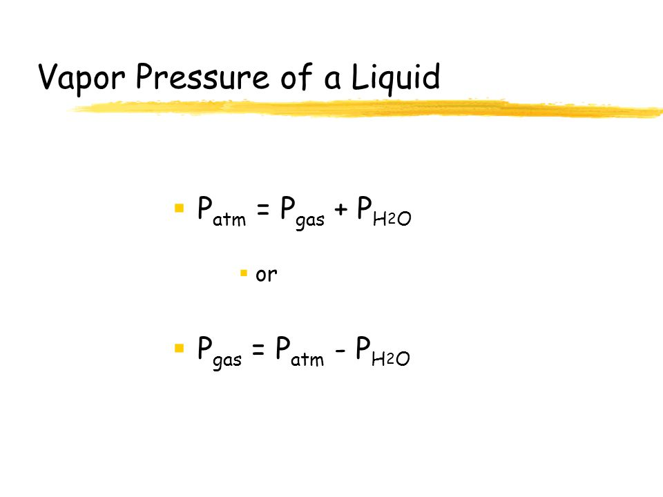 Vapor Pressure of a Liquid  The pressure exerted by its gaseous molecules in equilibrium with the liquid; increases with temperature