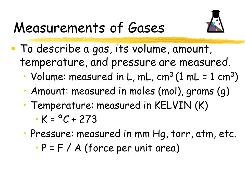 Example 2: A sample of gas occupies 10.0 L at 240°C under a pressure of 80.0 kPa.