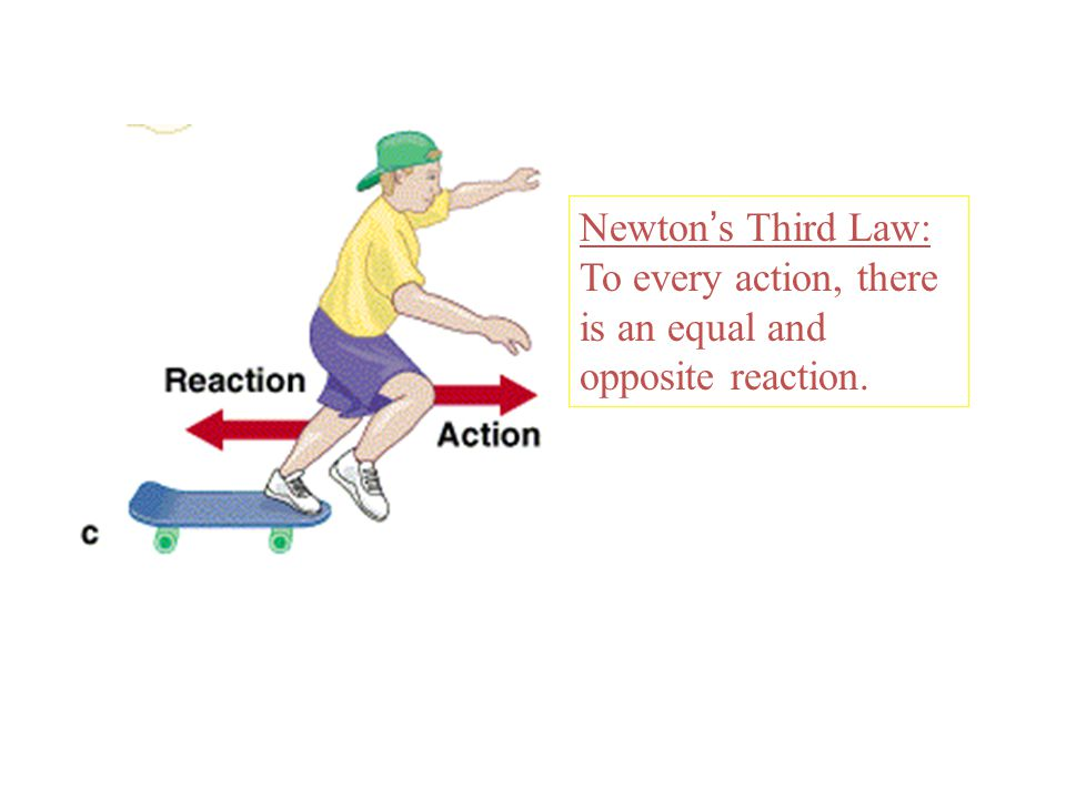 Newton s Laws of Motion Newton ' s Third Law: To every action, there is an equal and opposite reaction.