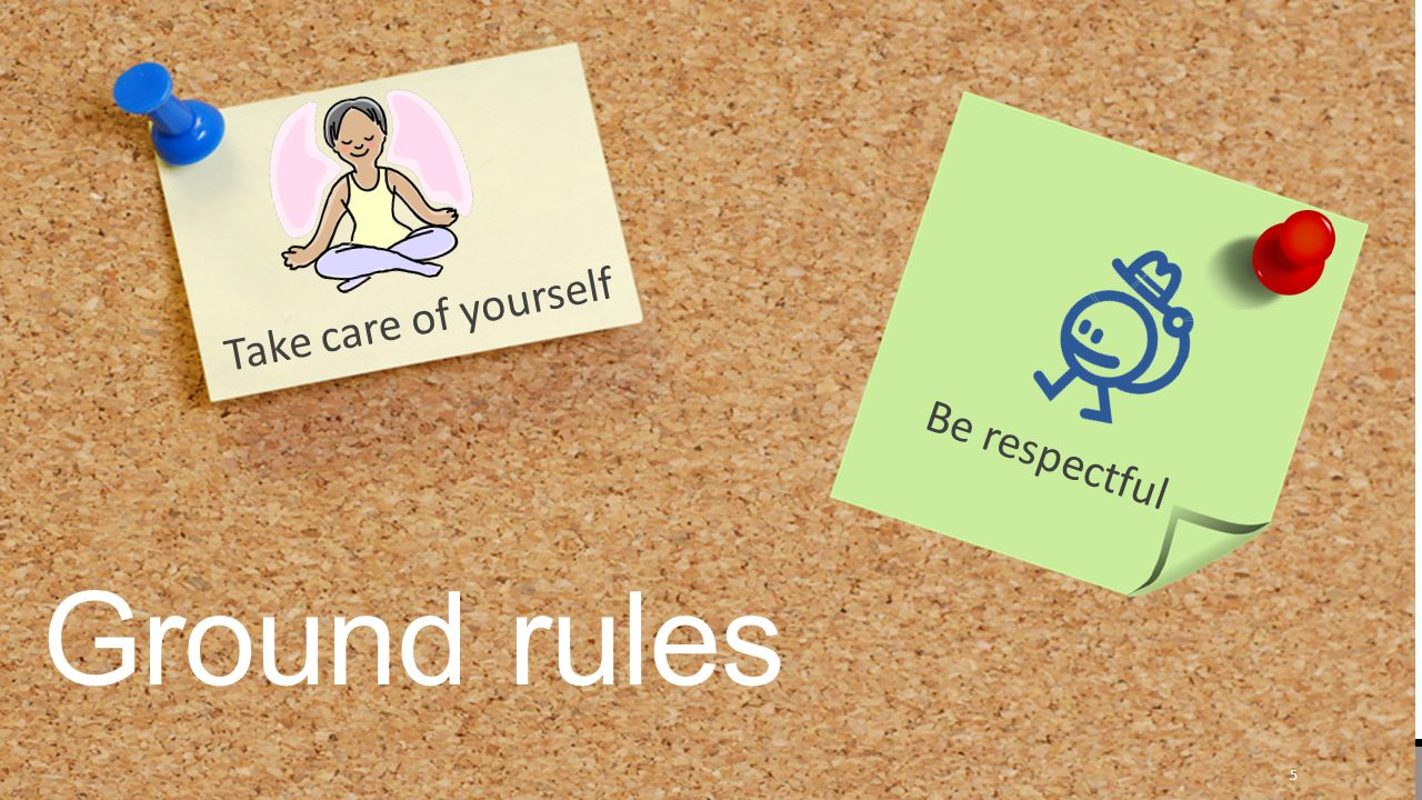 Ground rules Take care of yourself Be respectful 5