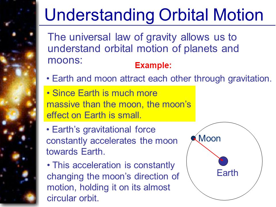 Understanding Orbital Motion The universal law of gravity allows us to understand orbital motion of planets and moons: Earth and moon attract each other through gravitation.