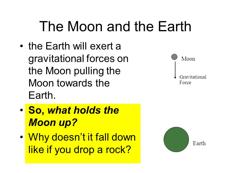 The Moon and the Earth the Earth will exert a gravitational forces on the Moon pulling the Moon towards the Earth.