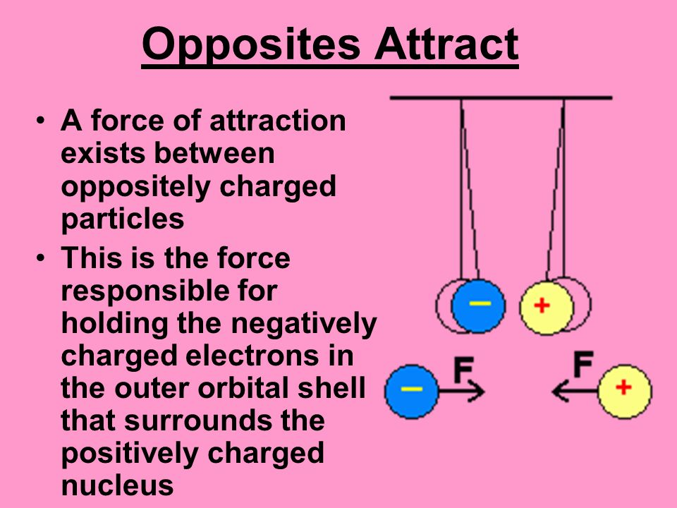 Opposites Attract A force of attraction exists between oppositely charged particles This is the force responsible for holding the negatively charged electrons in the outer orbital shell that surrounds the positively charged nucleus