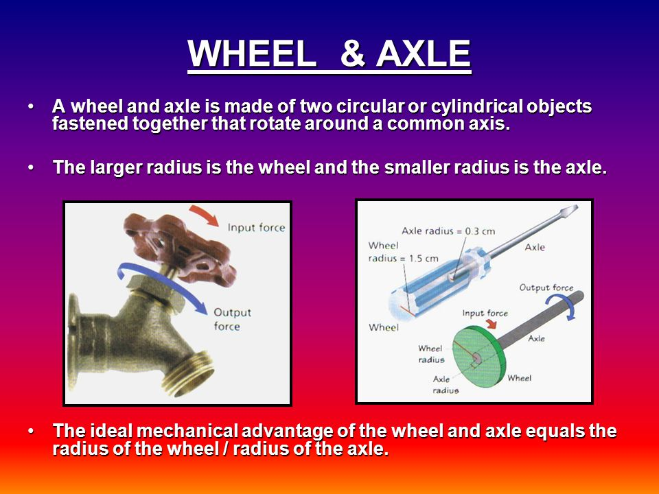 WHEEL & AXLE A wheel and axle is made of two circular or cylindrical objects fastened together that rotate around a common axis.A wheel and axle is made of two circular or cylindrical objects fastened together that rotate around a common axis.