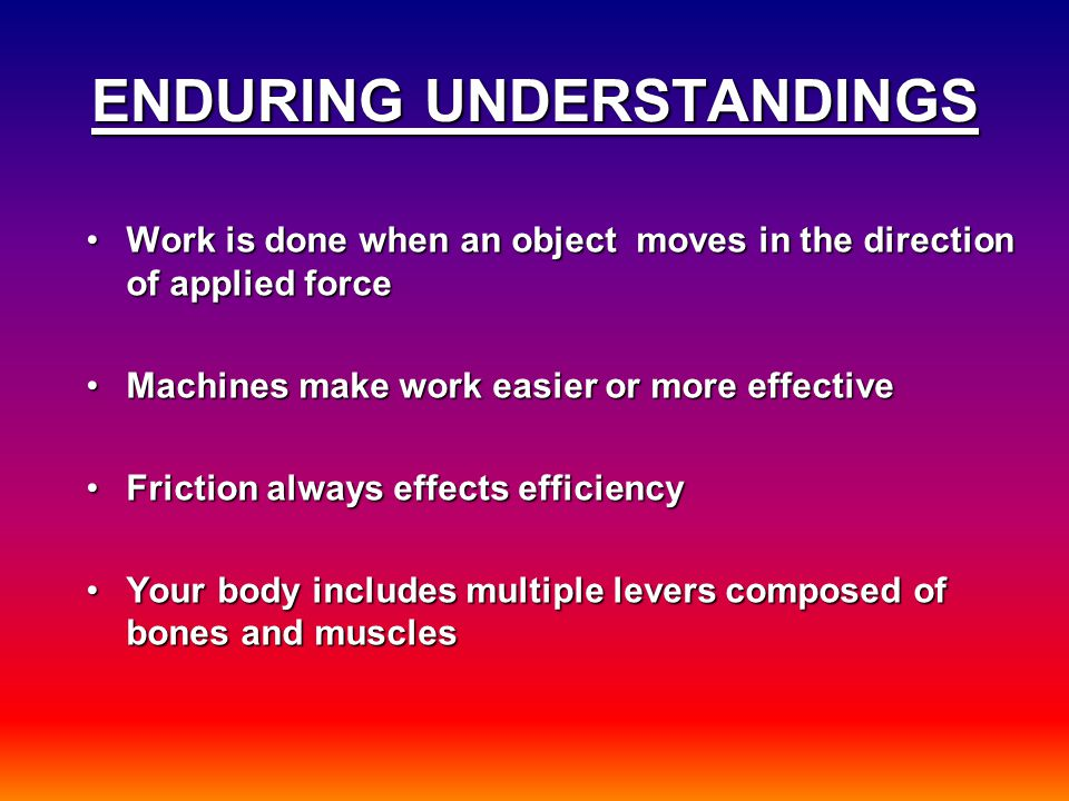 ENDURING UNDERSTANDINGS Work is done when an object moves in the direction of applied forceWork is done when an object moves in the direction of appli