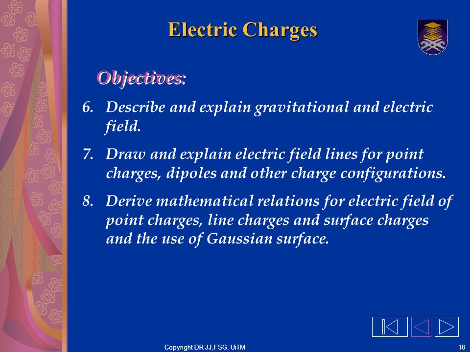 Copyright DR JJ,FSG, UiTM18 Electric Charges 6.Describe and explain gravitational and electric field. 7.Draw and explain electric field lines for poin