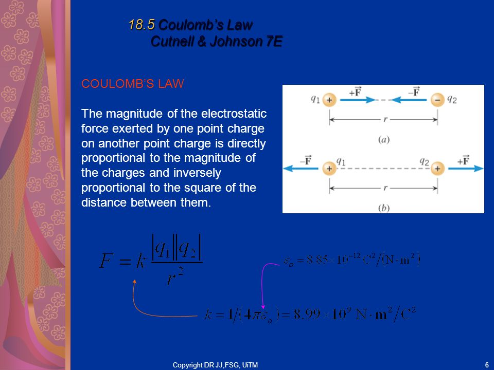 Copyright DR JJ,FSG, UiTM6 18.5 Coulomb's Law Cutnell & Johnson 7E COULOMB'S LAW The magnitude of the electrostatic force exerted by one point charge on another point charge is directly proportional to the magnitude of the charges and inversely proportional to the square of the distance between them.