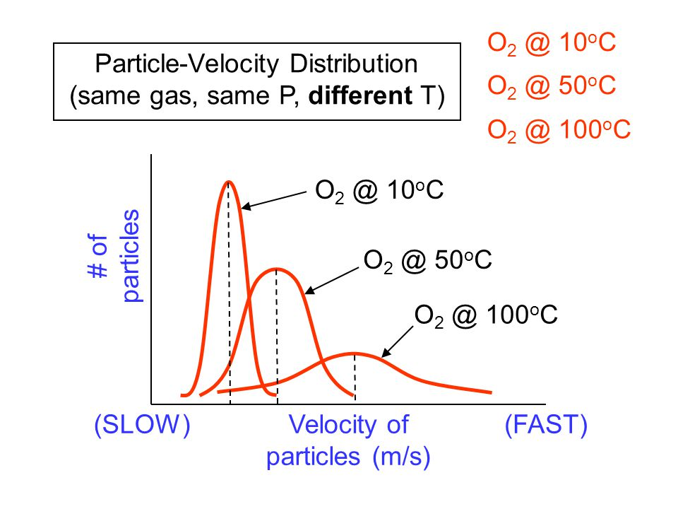 Particle-Velocity Distribution (same gas, same P, different T) # of particles Velocity of particles (m/s) (SLOW)(FAST) O 2 @ 10 o C O 2 @ 50 o C O 2 @ 100 o C O 2 @ 10 o C O 2 @ 50 o C O 2 @ 100 o C