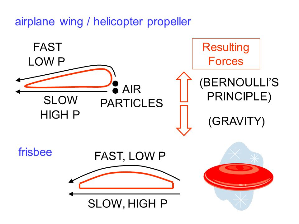 airplane wing / helicopter propeller AIR PARTICLES FAST SLOW Resulting Forces (BERNOULLI'S PRINCIPLE) (GRAVITY) frisbee HIGH P LOW P FAST, LOW P SLOW,