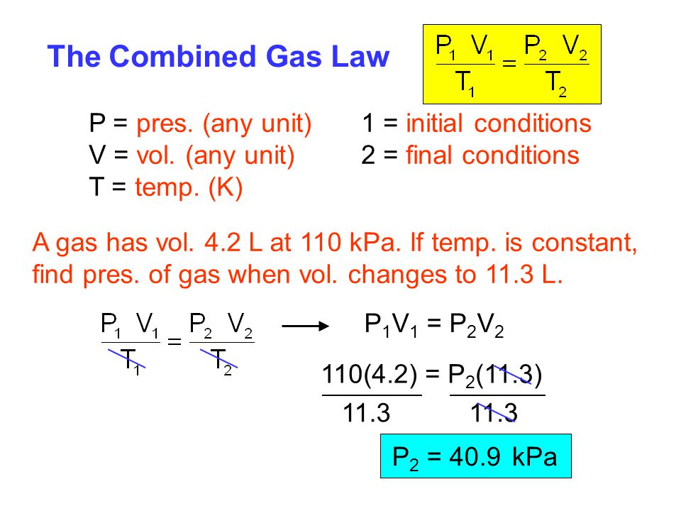 P 1 V 1 = P 2 V 2 The Combined Gas Law P = pres. (any unit)1 = initial conditions V = vol. (any unit)2 = final conditions T = temp. (K) A gas has vol.
