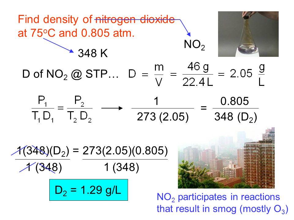 Find density of nitrogen dioxide at 75 o C and 0.805 atm.