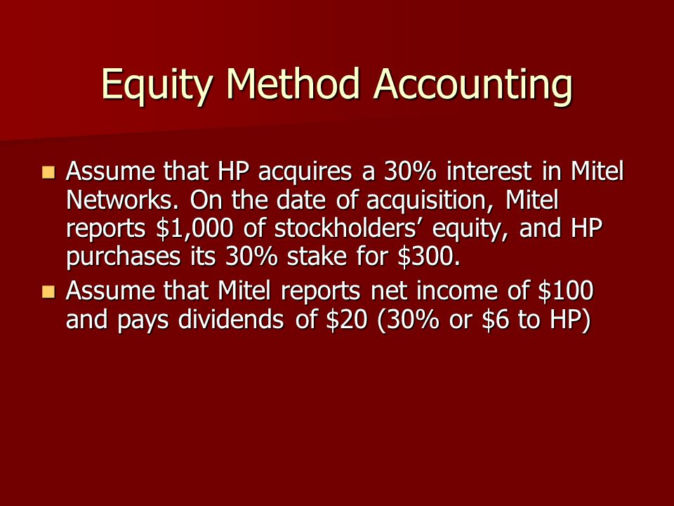 Equity Method Accounting Assume that HP acquires a 30% interest in Mitel Networks. On the date of acquisition, Mitel reports $1,000 of stockholders' e