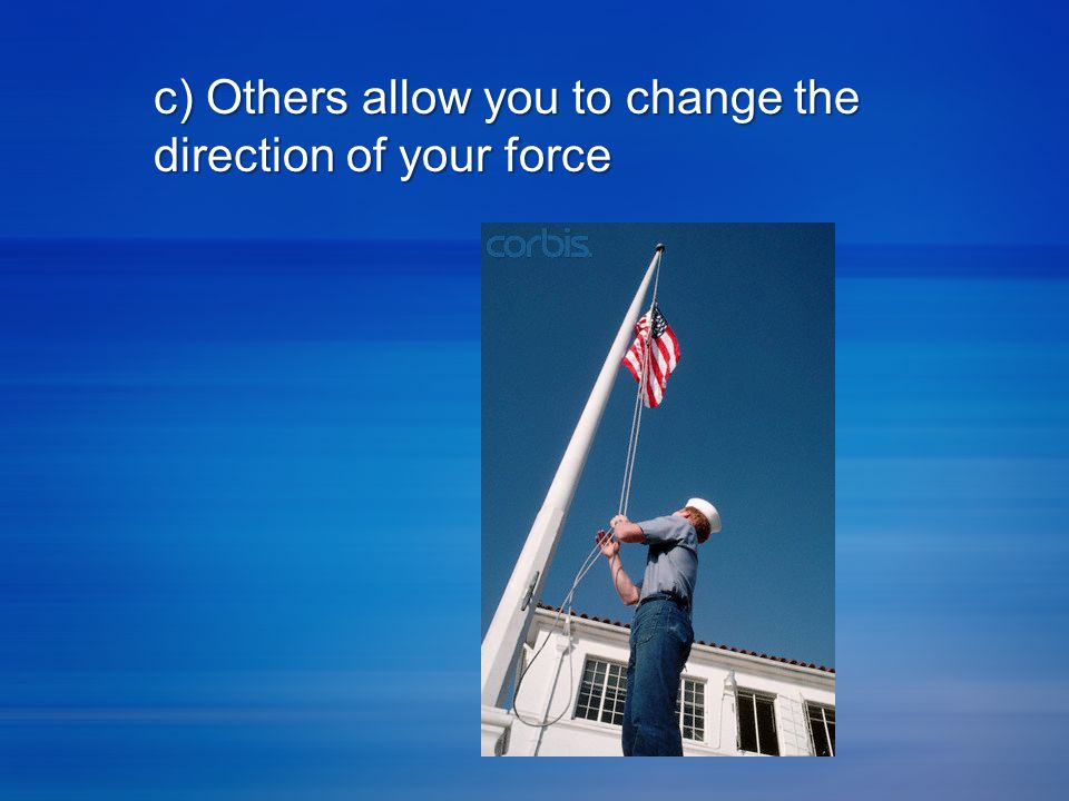c) Others allow you to change the direction of your force