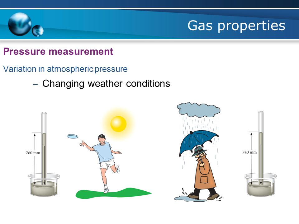 Gas properties Pressure measurement Variation in atmospheric pressure – Changing weather conditions