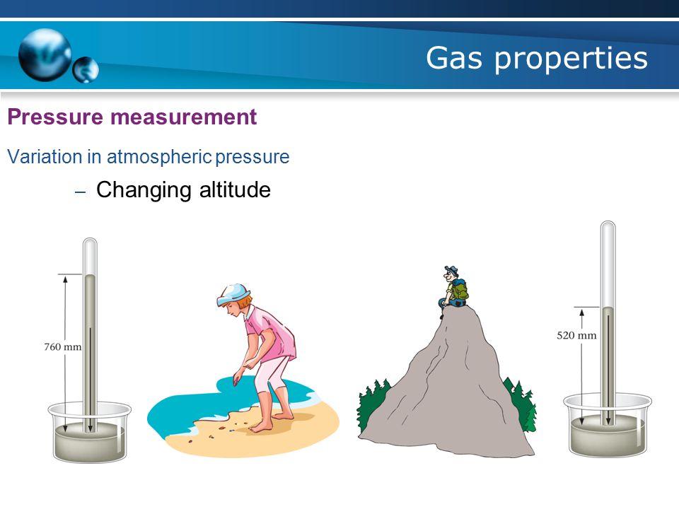Gas properties Pressure measurement Variation in atmospheric pressure – Changing altitude