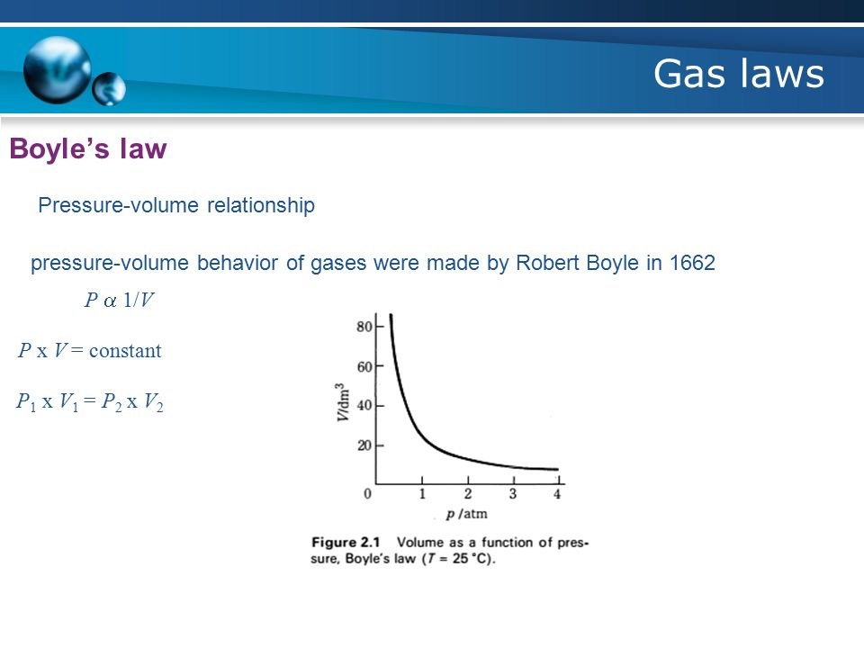 Gas laws Boyle's law Pressure-volume relationship pressure-volume behavior of gases were made by Robert Boyle in 1662 P  1/V P x V = constant P 1 x V 1 = P 2 x V 2