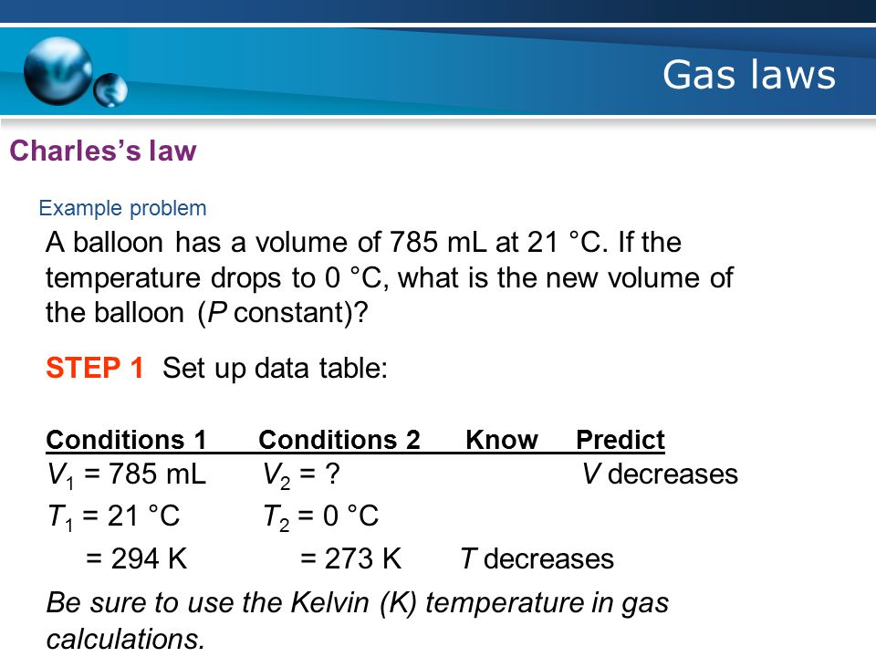 Gas laws Charles's law Example problem A balloon has a volume of 785 mL at 21 °C.