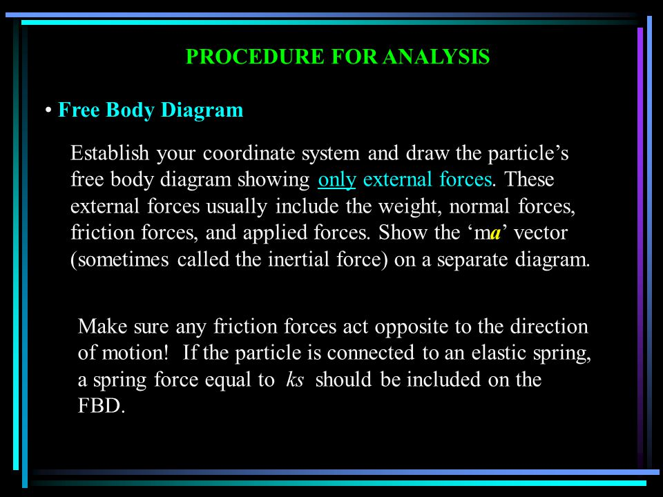 PROCEDURE FOR ANALYSIS Free Body Diagram Establish your coordinate system and draw the particle's free body diagram showing only external forces.