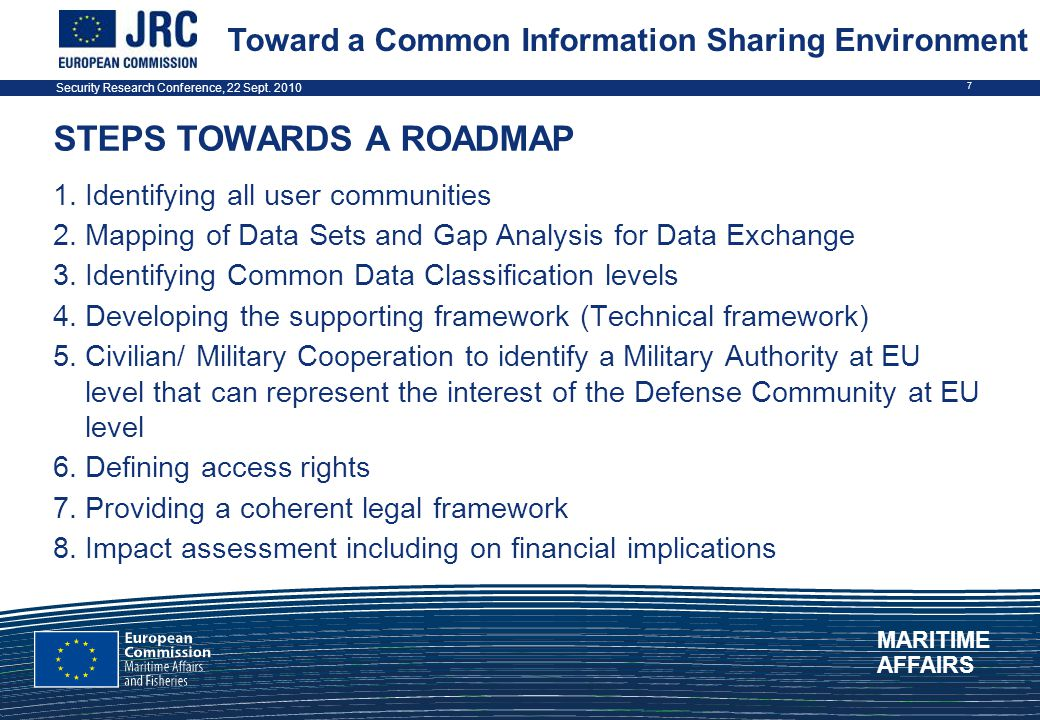 Security Research Conference, 22 Sept. 2010 7 STEPS TOWARDS A ROADMAP 1.Identifying all user communities 2.Mapping of Data Sets and Gap Analysis for D