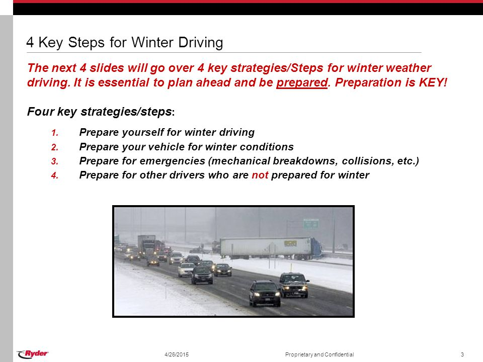4/26/2015Proprietary and Confidential3 4 Key Steps for Winter Driving The next 4 slides will go over 4 key strategies/Steps for winter weather driving