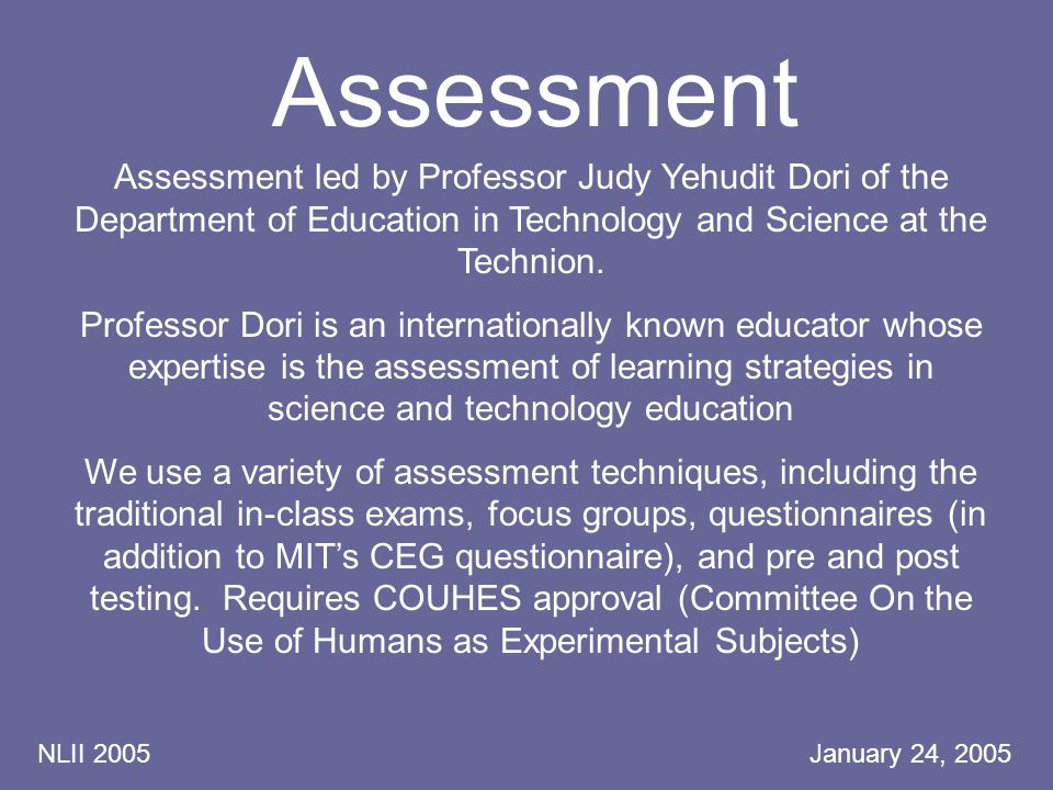 NLII 2005 January 24, 2005 Assessment Assessment led by Professor Judy Yehudit Dori of the Department of Education in Technology and Science at the Technion.