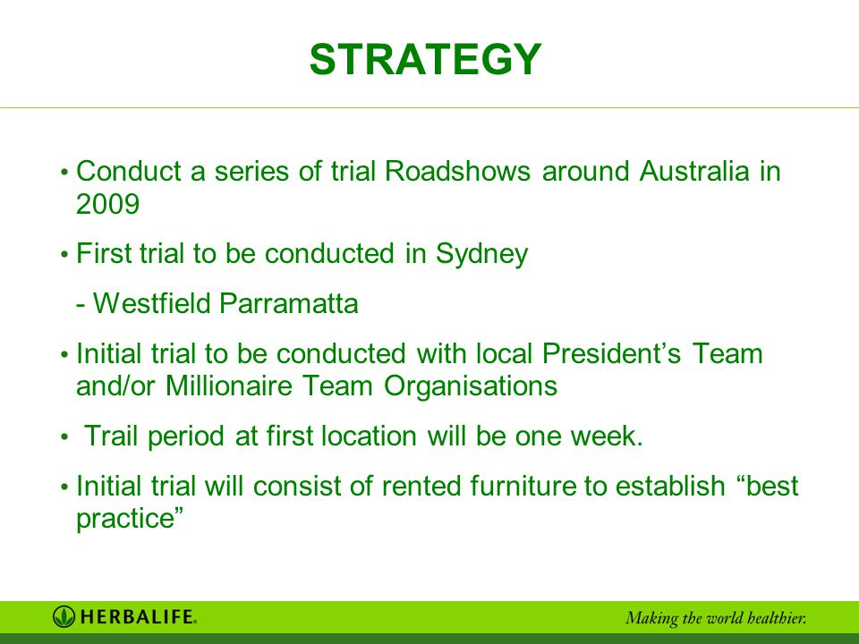 STRATEGY Conduct a series of trial Roadshows around Australia in 2009 First trial to be conducted in Sydney - Westfield Parramatta Initial trial to be