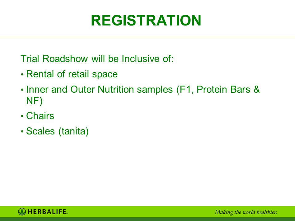 REGISTRATION Trial Roadshow will be Inclusive of: Rental of retail space Inner and Outer Nutrition samples (F1, Protein Bars & NF) Chairs Scales (tani