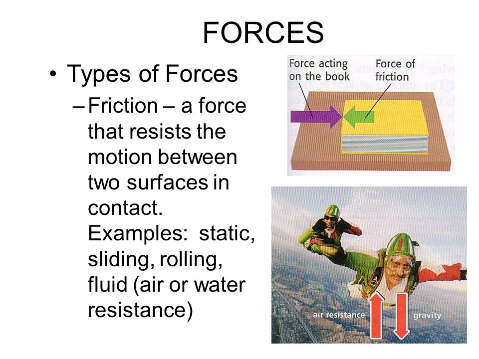 FORCES Types of Forces –Friction – a force that resists the motion between two surfaces in contact.