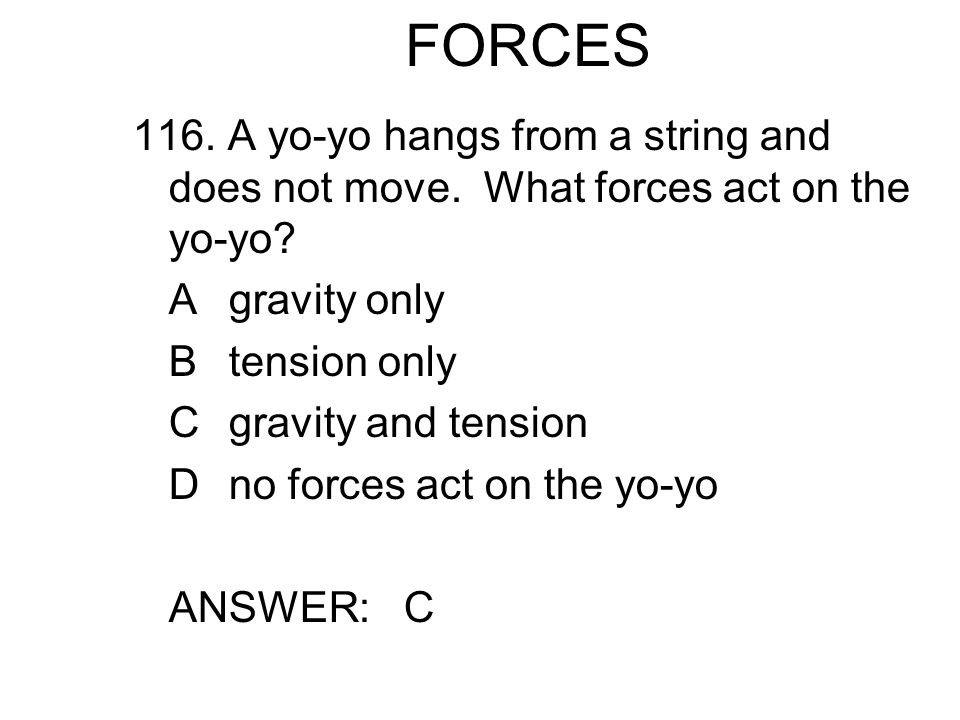 FORCES 116.A yo-yo hangs from a string and does not move.