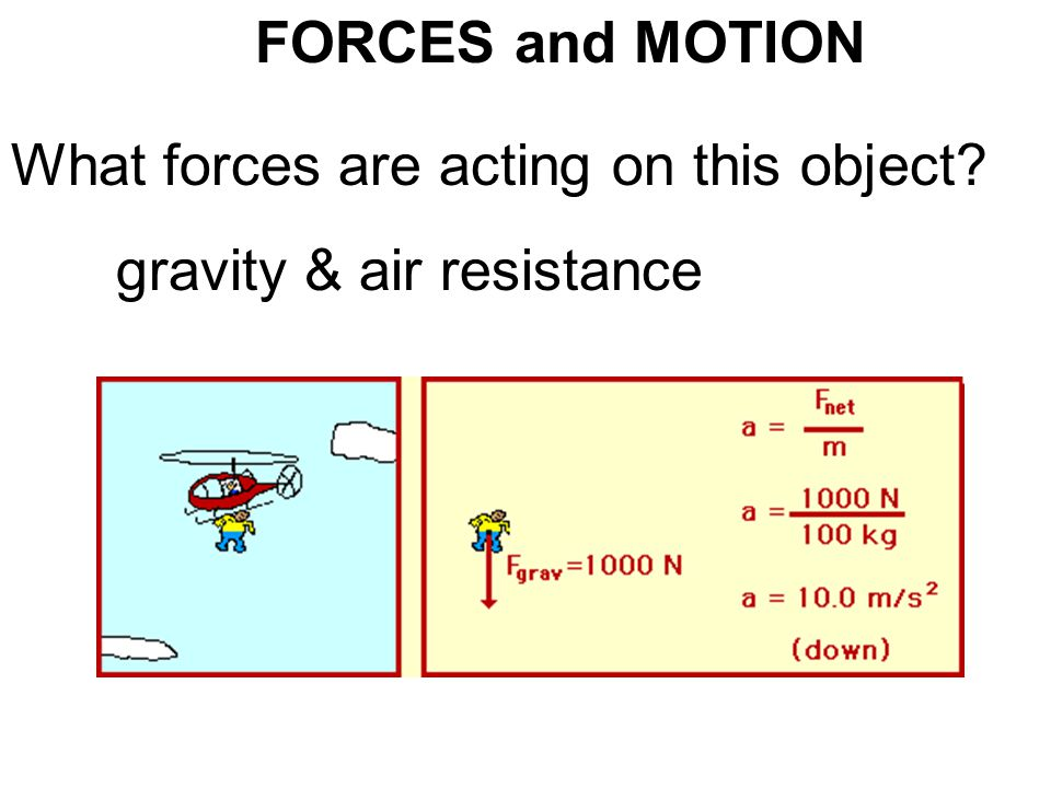 FORCES and MOTION What forces are acting on this object? gravity & air resistance