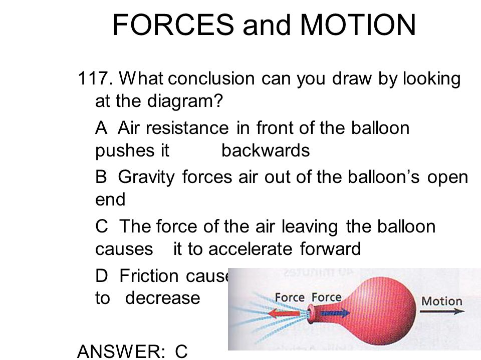 FORCES and MOTION 117.What conclusion can you draw by looking at the diagram.