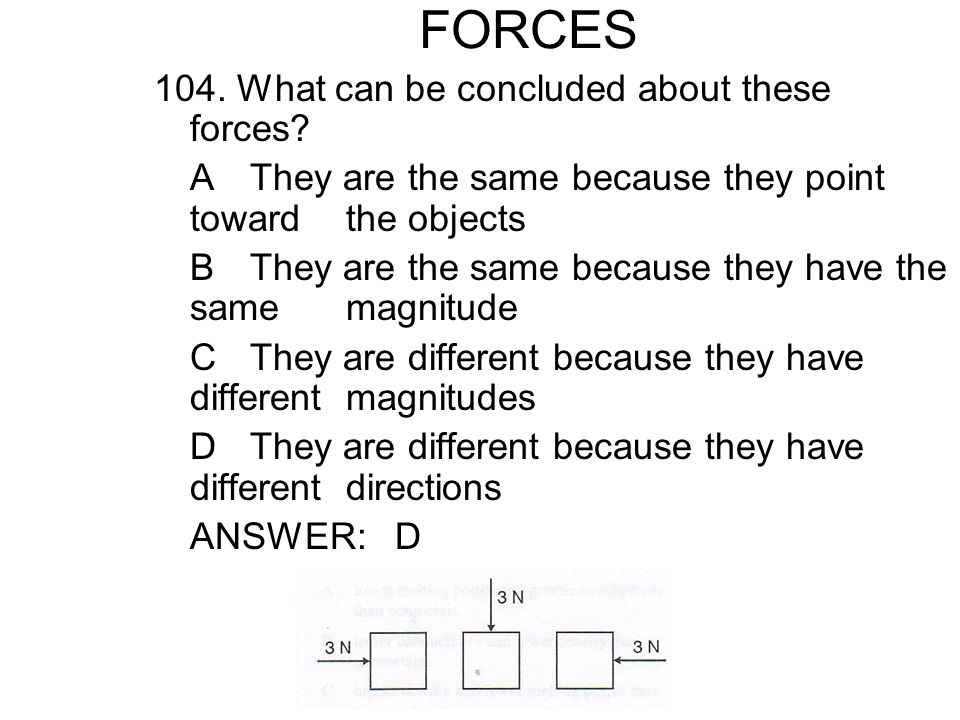 FORCES 104.What can be concluded about these forces.