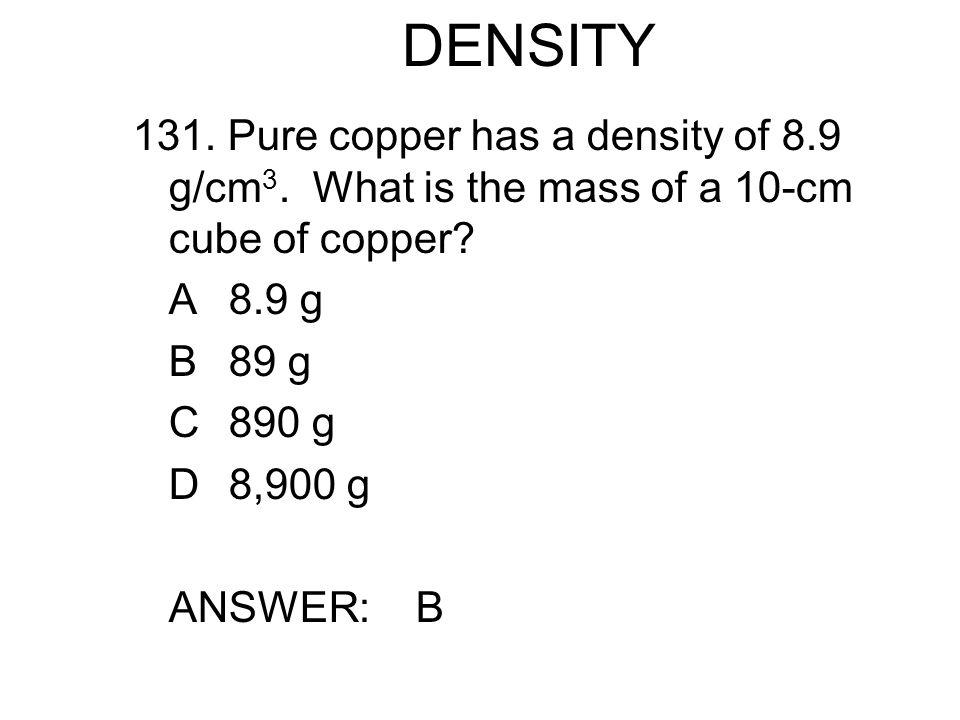 DENSITY 131.Pure copper has a density of 8.9 g/cm 3.