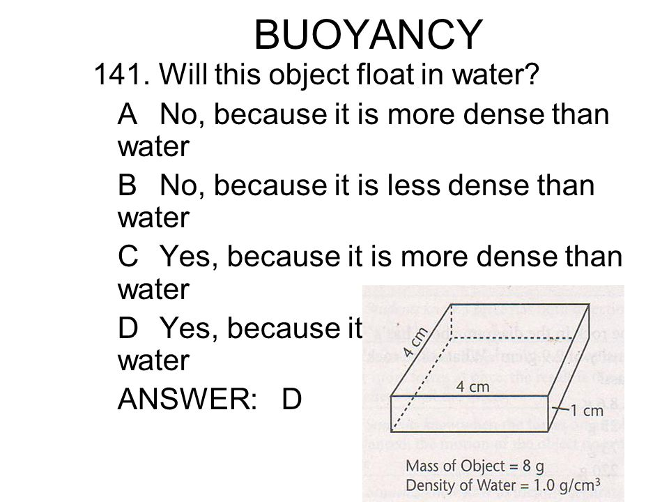 BUOYANCY 141.Will this object float in water.