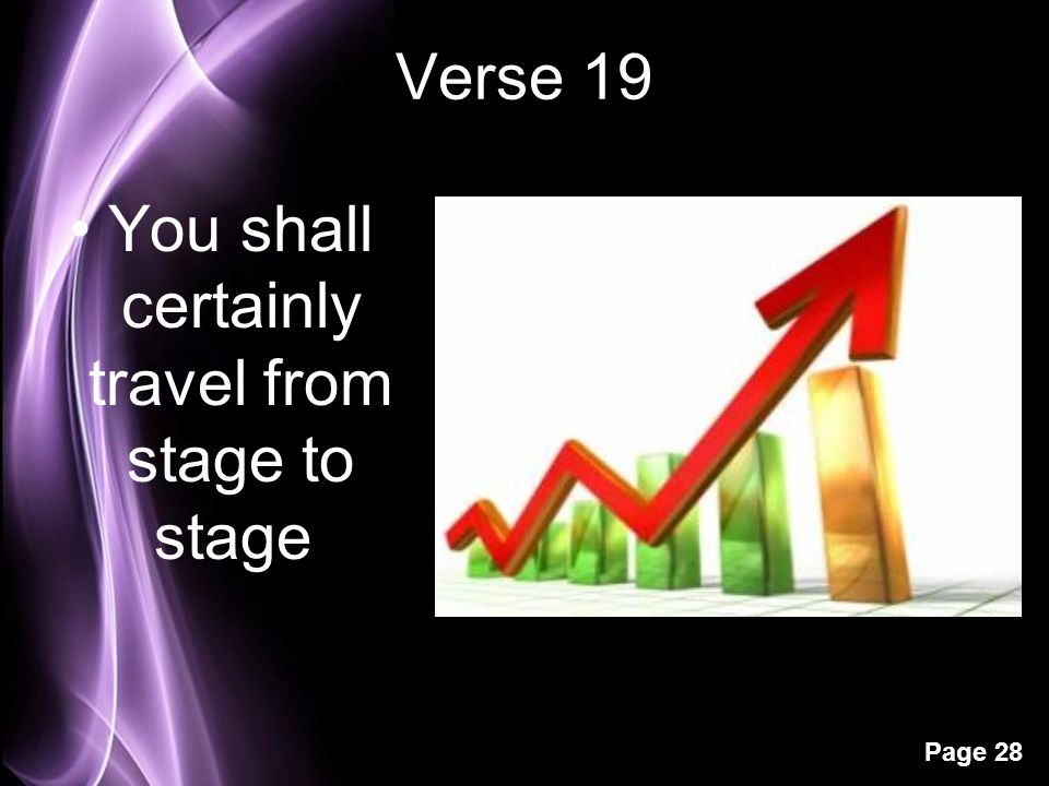 Page 28 Verse 19 You shall certainly travel from stage to stage