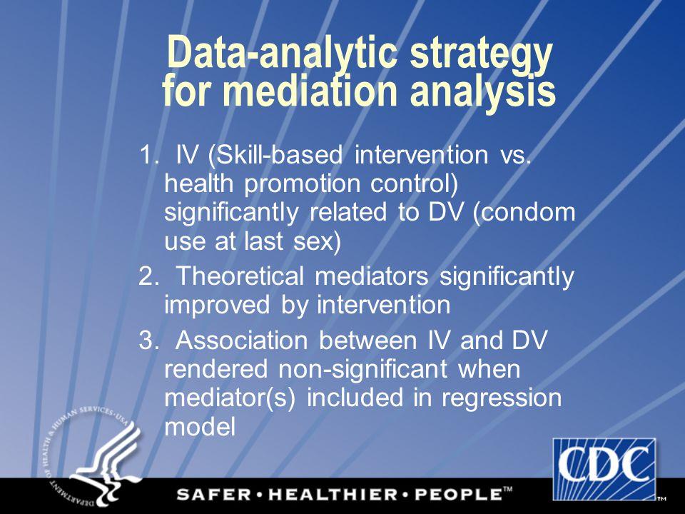 Data-analytic strategy for mediation analysis 1. IV (Skill-based intervention vs.