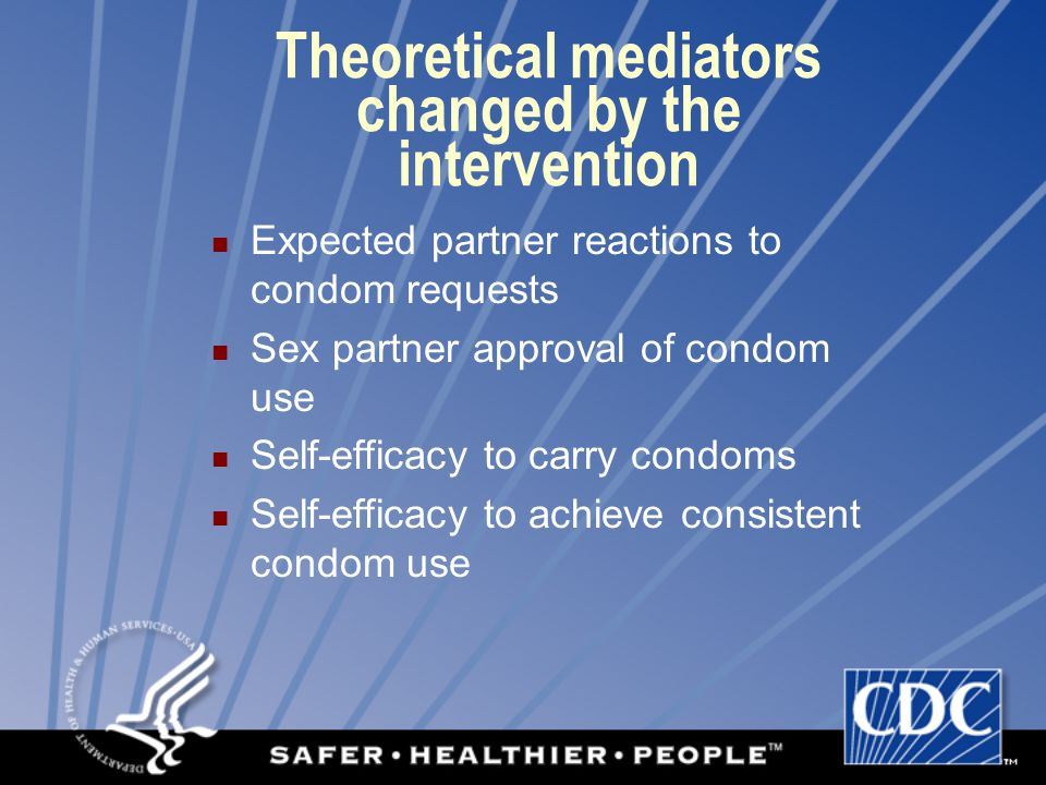 Theoretical mediators changed by the intervention Expected partner reactions to condom requests Sex partner approval of condom use Self-efficacy to carry condoms Self-efficacy to achieve consistent condom use