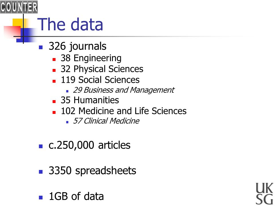 The data 326 journals 38 Engineering 32 Physical Sciences 119 Social Sciences 29 Business and Management 35 Humanities 102 Medicine and Life Sciences 57 Clinical Medicine c.250,000 articles 3350 spreadsheets 1GB of data