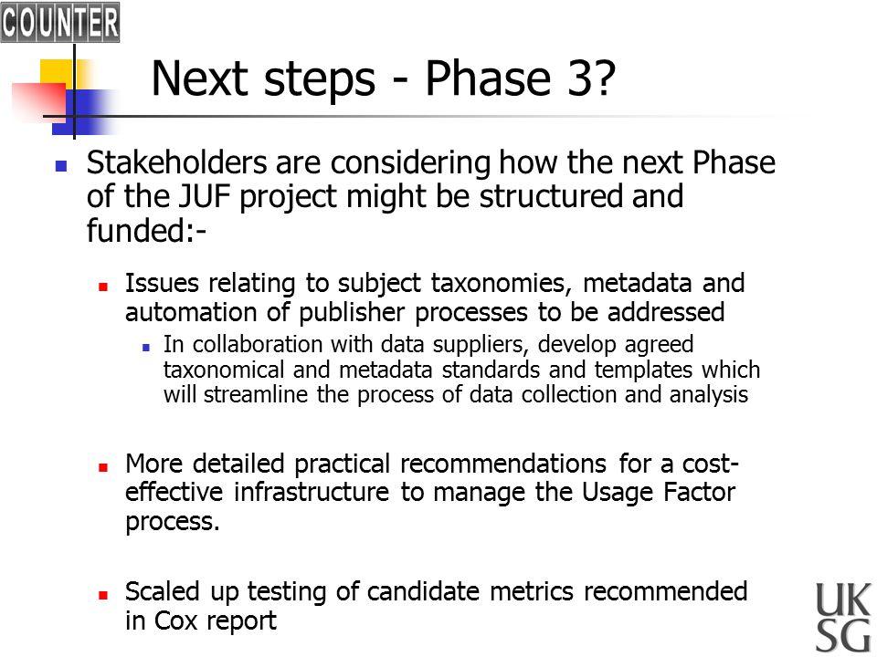 Next steps - Phase 3.