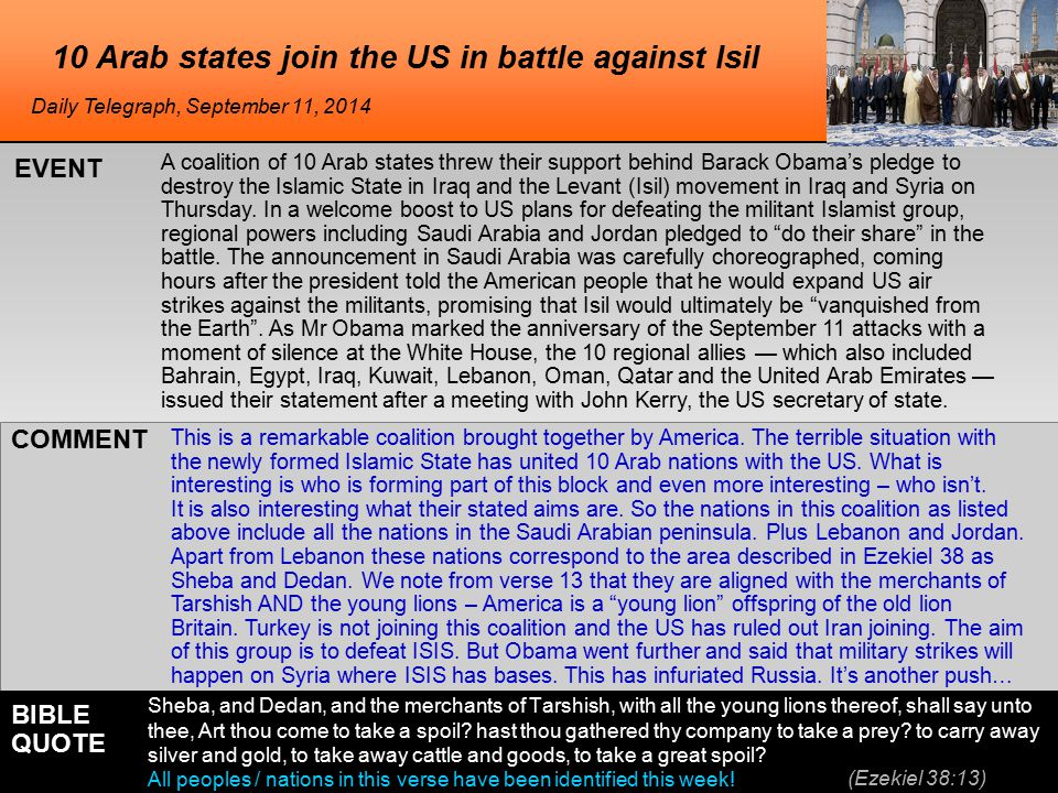 he 10 Arab states join the US in battle against Isil A coalition of 10 Arab states threw their support behind Barack Obama's pledge to destroy the Islamic State in Iraq and the Levant (Isil) movement in Iraq and Syria on Thursday.