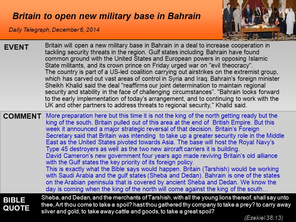 he Britain to open new military base in Bahrain Britain will open a new military base in Bahrain in a deal to increase cooperation in tackling security threats in the region.