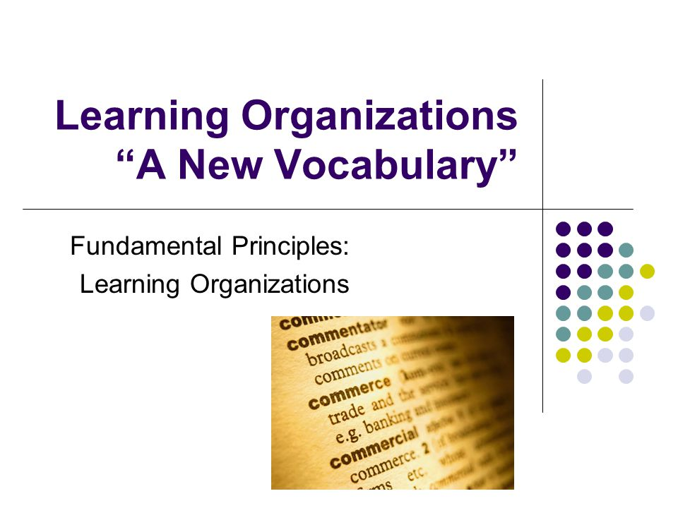 Learning Organizations A New Vocabulary Fundamental Principles: Learning Organizations